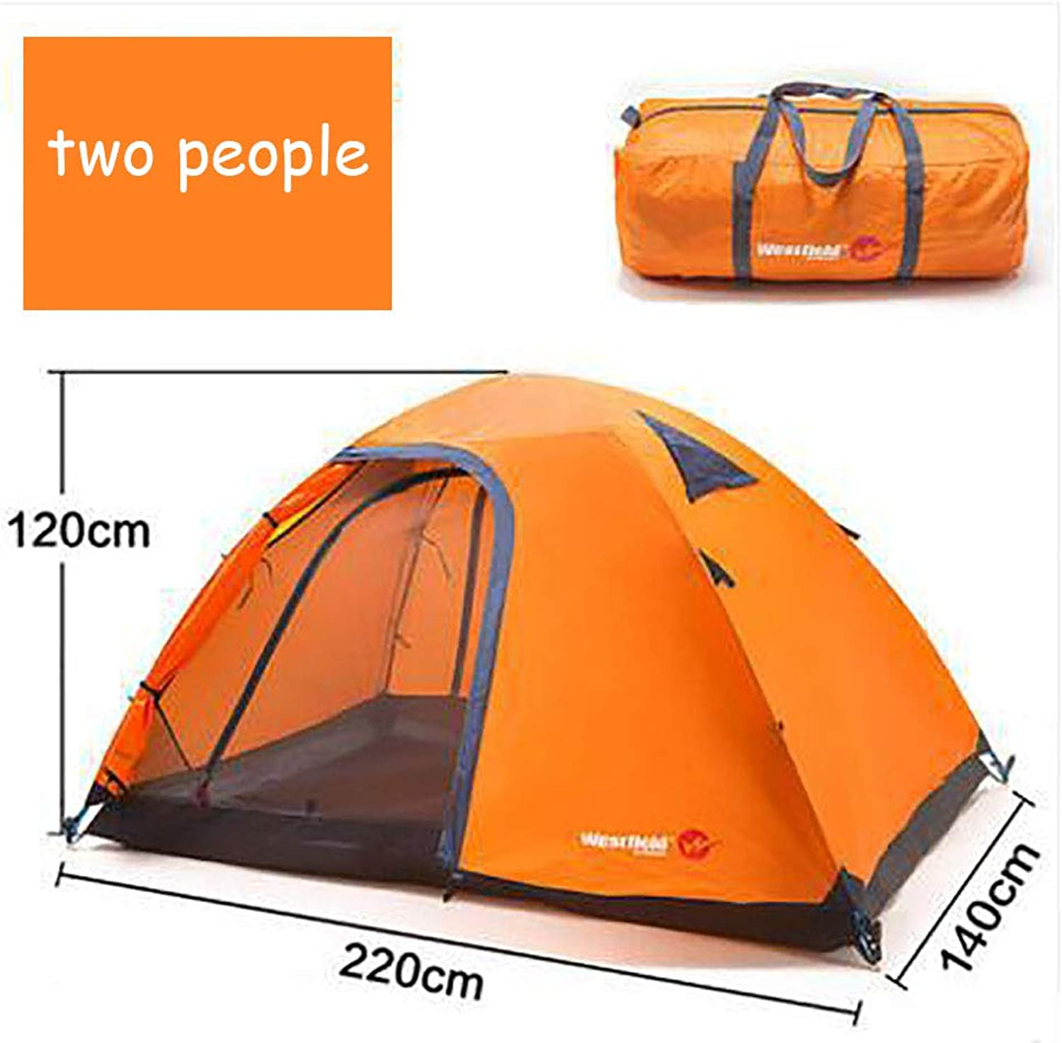 Portable Camping Tent, 2-3 Person Outdoor Waterproof Quick-Opening Tents Family Backpacking Tents Sun Shelter for Hiking Climbing Beach Garden Fishing Picnic(Double Layer),B,twopeople
