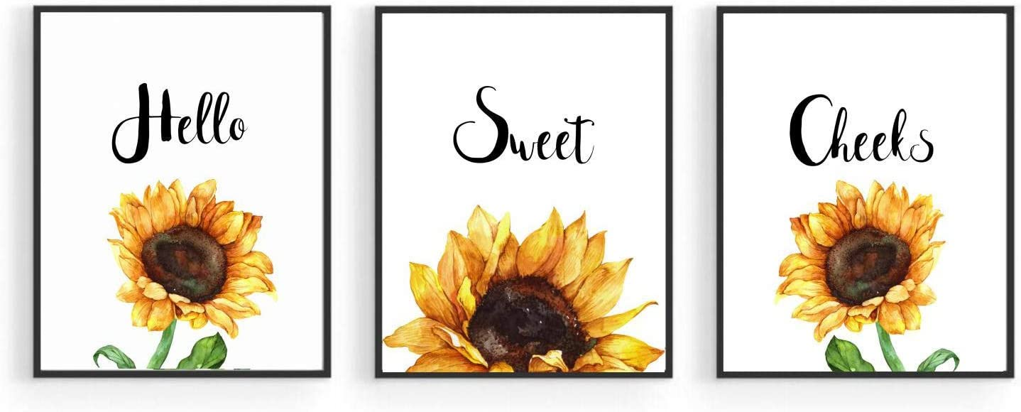 Sunflower Inspirational Bathroom Wall Decor Art ,Motivational Yellow Flower Posters for Office Classroom Home Farmhouse Bathroom,Hello Sweet Cheeks Bedroom Wall Art for Girls,Nursery Wall Decor ,Botanical Prints,Positive Quotes Kitchen Living Room Accessories (Set of 3, 8 x10 in, Unframed)
