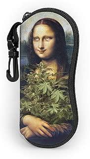 Sunglasses Mona Lisa Holding Cannabis Leaf Soft Case Ultra Light Neoprene Zipper Eyeglass Case