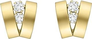 Carissima Gold Damen-Ohrstecker Cubic 2 Band V-Shaped 375 Gelbgold Zirkonia transparent Rundschliff - 1.58.9959