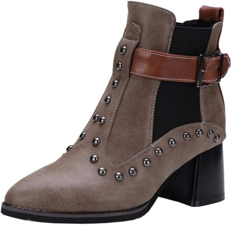 TAOFFEN Women Autumn Winter Dress shoes Slip-on Short Bootie Boots
