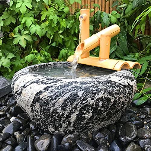 VARADOMO Características para el jardín, decoración de Fuentes de bambú al Aire Libre, Elemento de Agua japonés con Bomba, decoración de jardín japonés,35cm