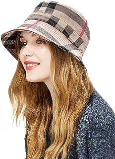DOCILA Plaid Tartan Bucket Hats for Women Vintage Rollable Fisherman Sun Cap