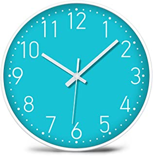iMotion Wall Clock Modern Simple Indoor Non-Ticking Silent Sweep Movement Battery Operated, Wall Clock for Kitchen Office,Bathroom,Livingroom Decorative 12 Inch Teal