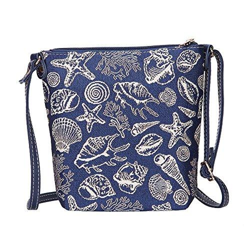 Signare Tapisserie Kleine Tasche Damen, Handtasche Damen Klein, Reisepass Tasche, Mini Handtasche mit Farbmuster Designs (Muschel)