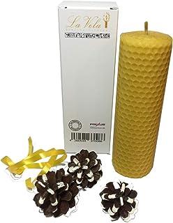 La Vela - Edle handgefertigte Qualitäts- Bienenwachskerze aus 100% Bienenwachs in der Größe ca. 130 x 45 mm