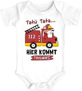 SpecialMe Baby Body mit Namen Bedrucken Lassen Feuerwehr-Auto Tatütata Hier kommt Wunschname Kurzarm Bio Baumwolle
