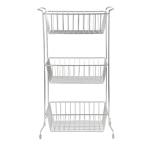 Embassy Fruit & Vegetable Trolley, Rectangle, 3-Tier, 35x25x63 cms, Stainless Steel (Multipurpose Kitchen Storage Rack/Shelf)