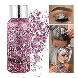 GL-Turelifes Lentejuelas de sirena con purpurina líquida, sombra de ojos, gel para el cuerpo, festival, purpurina, cosméticos, para el pelo, maquillaje de larga duración, brillo de 30 g (03# rosa)