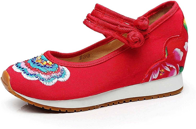Frauen Besteickte Schuhe fallen Sport beilufige nationale Art dünne Schuhe ( Farbe   Rot , gre   US 5\UK 4\EUR 35 )