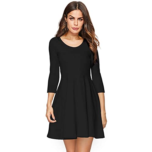 Amoretu Womens Bell Sleeve Tunic Dress Casual V Neck Ruffle Swing Shift  Dresses 1d56d9dbf