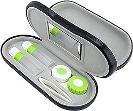 Estuche para Gafas y Lentillas con Espejo Incorporado ROSENICE 2 en 1 Funda Gafas Caja de Lentes de Contacto Kit de Viaje Negro
