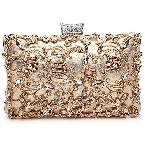 GESU Womens Beaded Crystal Clutch Rhinestone Evening Bag Wedding Bridal Prom Purse,Gold, Large
