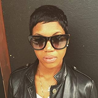 RUISENNNA Short Pixie Cut Human Hair Wigs Fringe Cut Short Black Straight Wigs for Black Women 1B Color