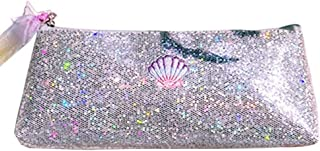 Shiny Shell Premium Pencil Case - Bitsogoom Glitter Sparkly Pencil Storage Embroidered Cosmetic Bag Pouch(Silver)