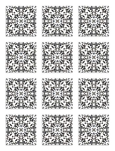 Panorama Azulejos Adhesivos Cocina Baño Pack de 72 Baldosas de 10x10 cm Azulejo Hidráulico Tipo Oriental Gris - Vinilos Cocina Azulejos - Revestimiento de Paredes - Cenefas Azulejos Adhesivas