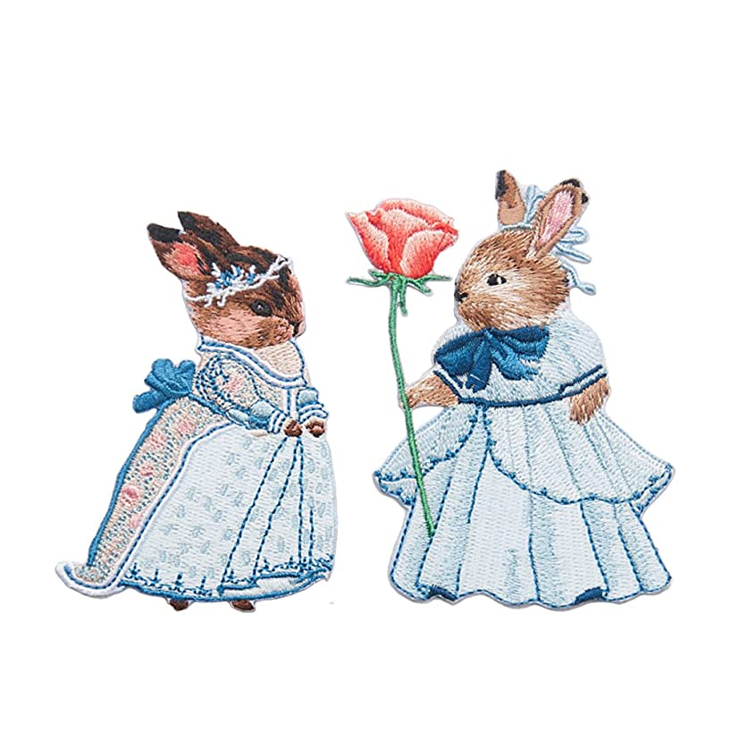 2 Pack Delicate Embroidered Patches, Fairytale Rabbits Embroidery Patches, Iron On Patches, Sew On Applique Patch, Custom Backpack Patches for Boys, Girls, Kids, Super Cute!