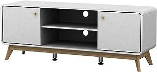 HiFi TV-Bank Lowboard weiß Fernsehtisch Fernsehschrank 2 Türen mit Kabelkanal Wohnzimmer Skandinavisches Design 140 x 39 x 53 cm (weiß)