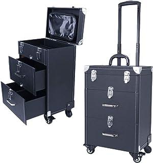 Qivange Professional Nail Polish Organizer, Large Makeup Train Case, Rolling Makeup Trolley Case PU Leather Artists Lockab...
