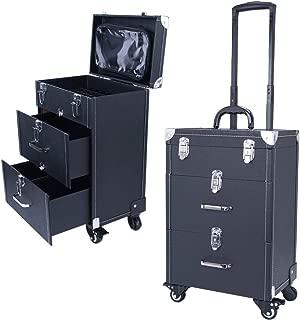 Qivange Professional Nail Polish Organizer, Large Makeup Train Case, Rolling Makeup Trolley Case PU Leather Artists Lockable Jewelry Travel Cosmetic Train Case w/ 4 Wheels, Black