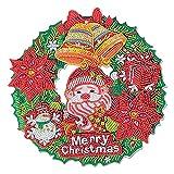 Antking Corona de Navidad, corona de Halloween, punto de bricolaje diamante arte guirnalda 5d...