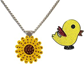 Navika Yellow Sunflower Adorned with Crystals from Swarovski and Glitzy Birdie Tweet Tweet Ball Marker Magnetic Necklace