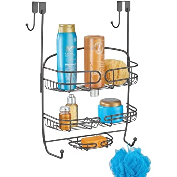 mDesign Colgador para ducha – Práctica estantería de ducha para colgar en la mampara – Organizador de baño de metal – gris: Amazon.es: Hogar