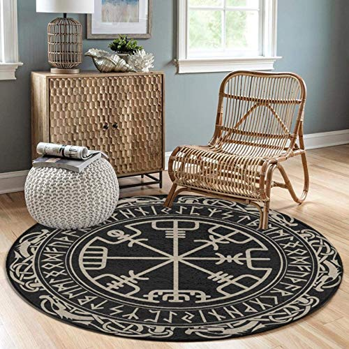 Round Flannel Area Rugs Non-Slip Floor Carpet Circular Area Rug, 3 Feet, Black Celtic Viking Design Magical Runic Compass Vegvisir in The Circle of Norse Runes and Dragons Tattoo Decorative