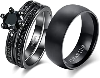 Couple Ring Bridal Sets His Hers Women 18k Black Gold Plated Cz Men Titanium Wedding Ring Band Set