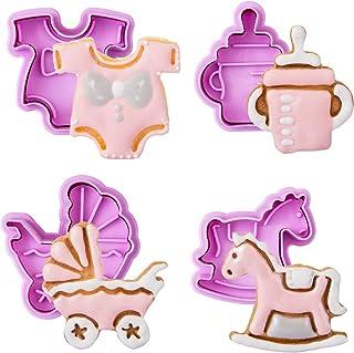 GWHOLE Lot de 4 Emporte-pièces avec Poussoirs Biscuit Moule Cookie Pâtisserie Gâteau Fondant Décoration en Forme de Vêteme...