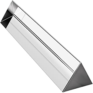 """Amlong Crystal 6"""" Optical Glass Triangular Prism for Teaching Light Spectrum Physics and Photo Photography Prism, 150mm"""