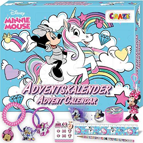 CRAZE Adventskalender 2020 MINNIE MOUSE Haarschmuck Kinderschmuck tolle Überraschungen Weihnachtskalender Mini Maus für Kinder 24669