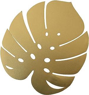 SLDHFE Lot de 4 sets de table en feuille de palmier doré 41,9 x 36,8 cm Feuilles de palmier artificielles Feuilles de Mons...