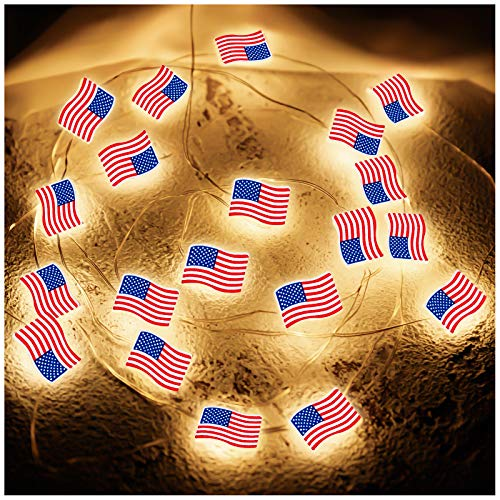 Independence Day Lights Decorative LED String Lights, Waterproofs American Flag Lights Patriotic Theme Decoration, 10 Ft 30 Bright LED Lights Battery Operated for Memorial Day President's Day