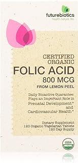 Futurebiotics Folic Acid 800mcg from Organic Lemon Peel USDA Certified Organic, 120 Vegetarian Tablets