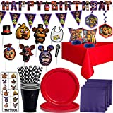 "Five Nights at Freddy's Party Supplies for 20 Paper Plates, Cups, Napkins, ""Happy Birthday"" Joint Banner, Photo Booth Props, Flag Banner, Table Cover, Centerpieces, Hanging Swirls, Straws and Tattoos"