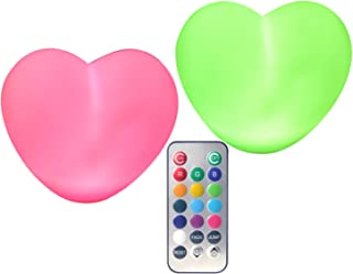 Heart Light LED Lamp (Pack of 2), Multi-colored - #1 Gift for Birthday, Holidays, Party decor, Baby shower, back-to-school, Valentine day gift!
