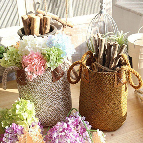 GEZICHTA natuurlijke geweven zeegras mand stro mand met handgrepen voor opslag, was, picknick, plantenpot cover, bloempot vaas, papieren mandje, en strand tas
