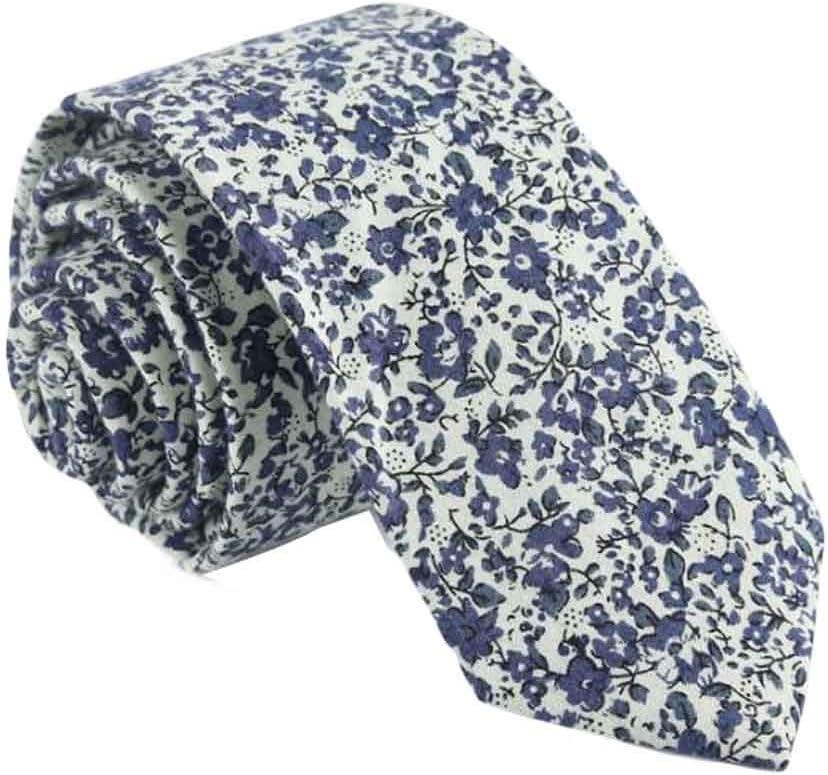 Wukong Direct Men Cotton Neckties Skinny Necktie Beige Blue Floral Formal/Casual Neckties 6cm