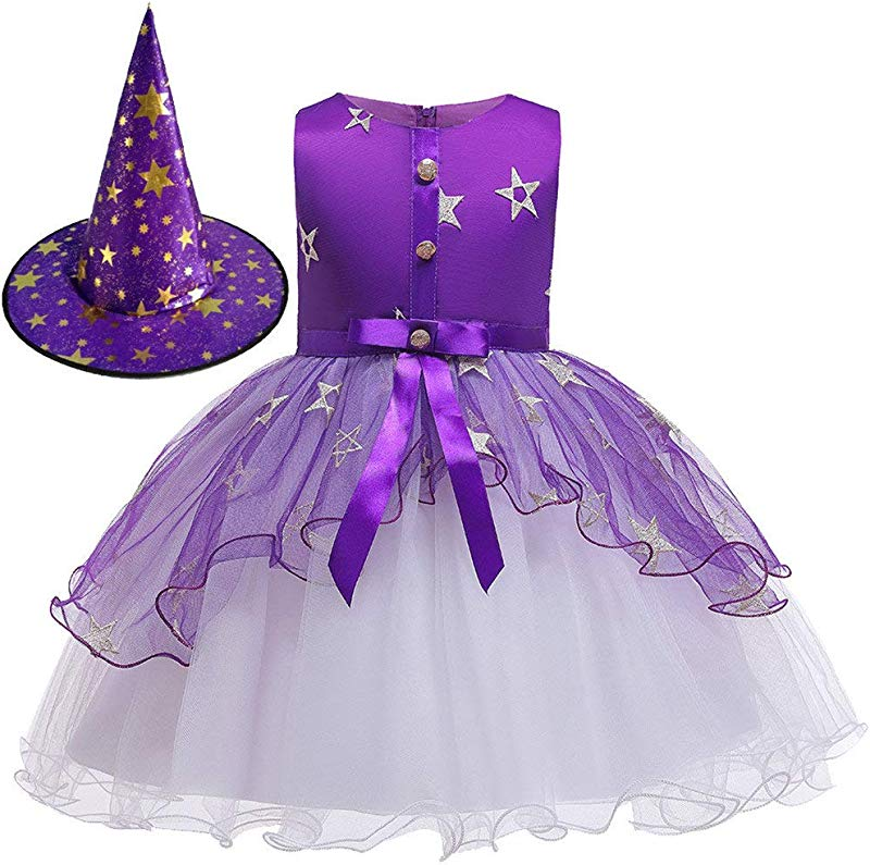 Jin Co Princess Dresses For Girls Fashion Mesh Tutu Dress Halloween Costumes Prom Party Dress Hat Outfits Set