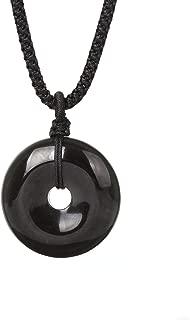 MATT HANN Rainbow Eye Obsidian Safety Circle Pendant Original Handmade Grounding Stone Protection