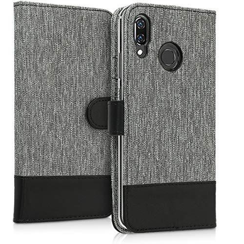 kwmobile Huawei Nova 3 Hülle - Kunstleder Wallet Case für Huawei Nova 3 mit Kartenfächern und Stand - Grau Schwarz - 3