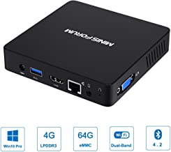 Z83-F Mini PC Fanless Silent Desktop 4GB RAM, 64GB eMMC Micro PC, HD Intel Quad Core CPU up to 1.92GHz, 1000M LAN, BT4.2, HDMI&VGA, support Windows 10 Pro, Auto Power On, WOL & PXE Boot, Mini Computer