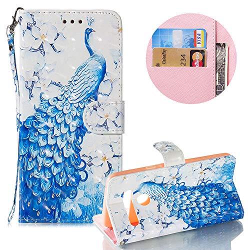 Gurt Brieftasche für LG G8 ThinQ/G8S ThinQ,Wallet Leder Handyhülle für LG G8 ThinQ/G8S ThinQ,Moiky Stilvoll 3D Blau Pfau Muster Geprägt Klappbar Stand Handytasche