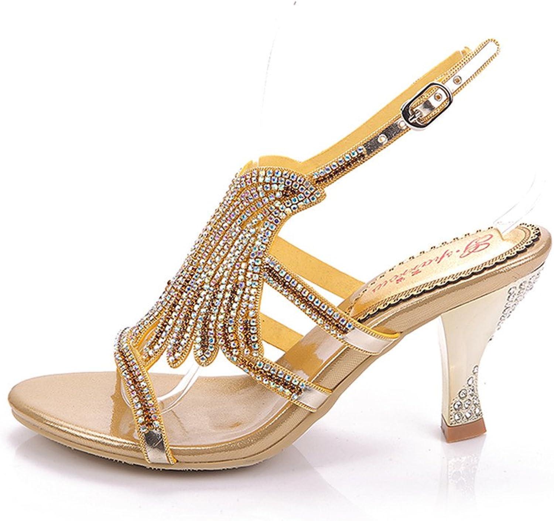 Aaron M-GS-L022X Womens Sexy Comfort Fashion Wedding Party Job Mid Heel Sandals