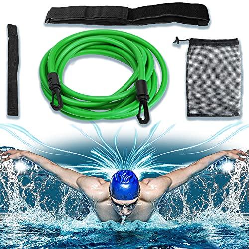 Schwimmgürtel, Schwimmgurt für Pool, Das Elastische Schwimmgürtel Erwachsene Kann für das Ausdauertraining Verwendet Werden, Anfänger Schwimmen Hilfsgürtel, Gegenstromanlage für Pool, 4M, Grün