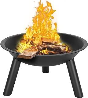 J.WASSA Steel Fire Pit, Wood Burning Pits Outdoor Camping Fireplace Fire Bowl 22 Inch, Patio Backyard Picnic Bonfire Garden Heater Firebowl (22