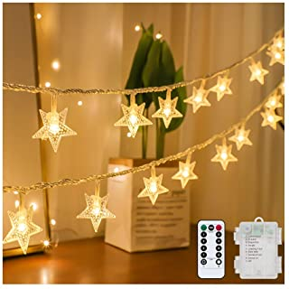 Tasodin Star String Lights Battery Operated Waterproof 40 LED 20 FT Star Fairy String Lights with Remote Control for Home,...