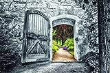 Bönninghoff Wandbild Gartentor coloriert   Glasbild mit Sicherheitsglasoberfläche   80 x 120 cm