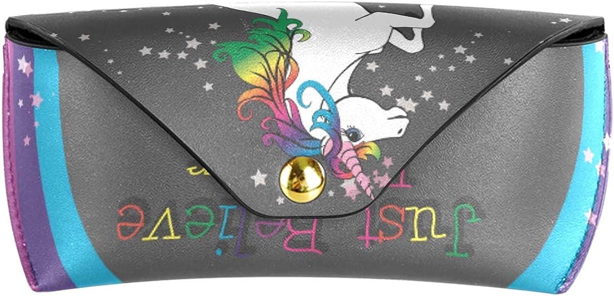 Multiuse Cute Unicorn With Rainbow Stars Office Goggles Bag PU Leather Portable Sunglasses Case Eyeglasses Pouch